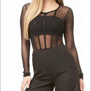 Black mesh sexy bodysuit